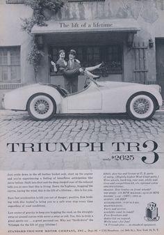 1957 Triumph TR 3 Car Ad Convertible Couple by AdVintageCom