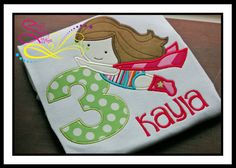 Super Girl Birthday Number Applique with Monogram by AprylEatman, $20.00