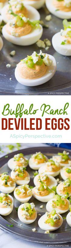 Bold Creamy 6-Ingredient Buffalo Ranch Deviled Eggs Recipe   ASpicyPerspective.com