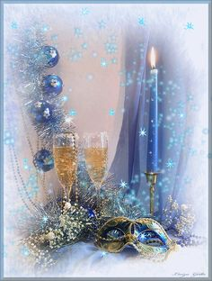 Merry Christmas & Happy New Year ! Merry Christmas And Happy New Year, Blue Christmas, Beautiful Christmas, Winter Christmas, Vintage Christmas, Christmas Holidays, New Year Gif, Happy New Year Images, New Year Wishes