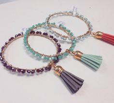 Dancing Beaded Bangles With Tassel by AwesomEm on Etsy
