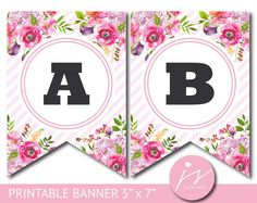 Pink printable party banner with flowers and stripes, Happy Birthday Banner Printable, Free Printable Banner Letters, Happy New Year Banner, Diy Birthday Banner, Diy Banner, Happy Birthday Banners, Floral Banners, Party Banners, Flamingo