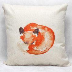 45x45 Cm Cushion Cover Linen Square Throw Pillow Case Impression Fox Home Decorective Capa De Almofada For Chair(China (Mainland))
