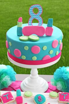 Girls Spa Party Birthday Cake! pink teal lime spa birthday decorations girls birthday ideas
