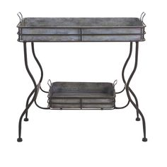 Featuring 2 tiers to display stacked art books and antique curios, this galvanized iron end table lends a chic touch to any space....
