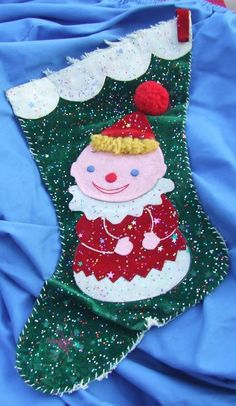 antique stocking#Vintage CHRISTMAS STOCKING Toy Clown #Stockings retro stocking# this is now for sale on ebay listed for 99 cents search ebay for item number 371214965376