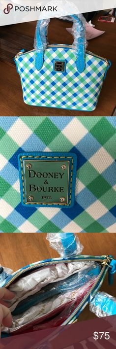 Dooney & Bourke purse Blue and green Dooney & Bourke purse. New with tags, never used. 10' inches long and tall. Dooney & Bourke Bags Totes