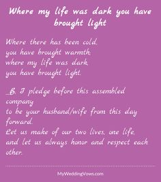 Where my life was dark you have brought light Love My Husband Quotes, I Love My Hubby, Dear Future Husband, I Love You Quotes, Love Yourself Quotes, Husband Wife, Happy Anniversary Poems, Wedding Poems, Wedding Kiss