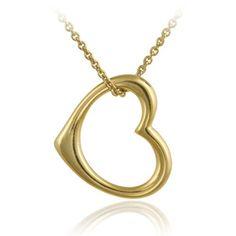 18K Gold over Sterling Silver Designer-Inspired Open Floating Heart Pendant