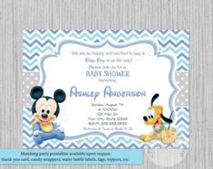 Mickey mouse invitations baby mickey 1st birthday invitation blue printed or digital cute baby mickey mouse baby shower invitations mickey baby shower invitations filmwisefo Images