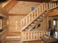 rustic wood banisters and railings | Fireplace Mantels