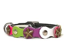 Designer Leather Cat Collar with Safety Elastic - Fancy Happy Studded Brown with Green Purple and Pink