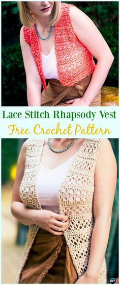 Crochet Lace Stitch Rhapsody Vest Free Pattern - #Crochet; Women #Vest; Free Patterns