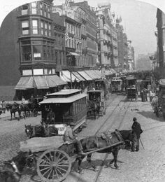 Victorian era New York City street scene, Broadway and Union Square. Horse-drawn trolley cars in Vintage Pictures, Old Pictures, Old Photos, New York City Photos, New York Pictures, Vintage New York, The Bowery Boys, Arte Steampunk, Photo Art Gallery