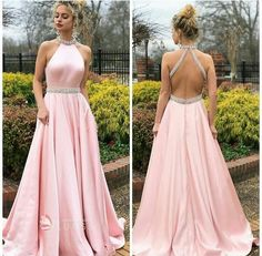 Pink A-Line Satin Prom Dresses, Beaded Backless Vintage Prom Dresses, Prom Dresses Long Pink, Halter Maxi Dresses, Grad Dresses, Pastel Prom Dress, Party Dresses, Dress Prom, Prom Gowns, Halter Gown, Club Dresses