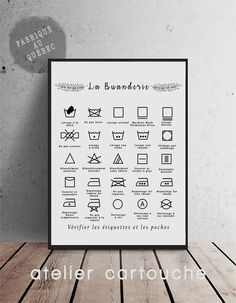 Laundry Rules Wash Symbols Laundry Poster Laundry Symbols Art Print Modern Home Decor Black on White Bathroom Posters, Bathroom Signs, Laundry Symbols, Barn Door Designs, Laundry Room Signs, Black Decor, International Paper Sizes, Living Room Designs, Letter Board