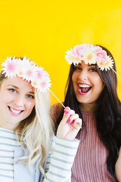 Photo Booth Props | Printable Flower Crowns | Hen Party | Bachelorette Party | Bridal Shower | Download | Floral Crown |