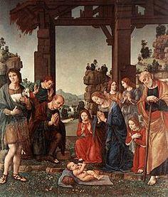 Adorazione dei pastori  AutoreLorenzo di Credi Data1510 circa Tecnicaolio su tavola Dimensioni224 cm × 196 cm  UbicazioneGalleria degli Uffizi, Firenze
