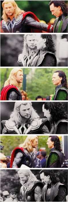 """Top: """"c'mon brother"""" 2: """"bitch keep your eyes off my Loki"""" 3: """"lol and then we had shwarma..."""" 4: """"now, Loki are you done being evil?"""" 5: """"stop stealing my fangirls!"""" 6: """"Thor, you're really stupid"""" """"hee yeah, I know"""""""