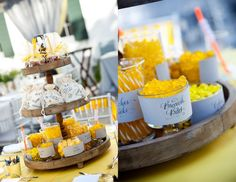 yellow & blue dessert table