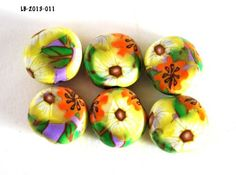 Yellow and Orange Flower Beads with Lavender Handmade Coins Polymer  | bluemorningexpressions - Jewelry Supplies on ArtF