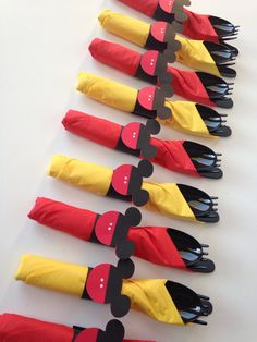 Great idea for a # DisneySide party! Mickey Mouse Birthday Party Cutlery wrapped by AlishaKayDesigns.