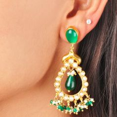 Green Onyx and Garnet Earrings http://www.tadpolestore.com/ #earrings #silver #goldplated #regal