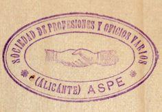 Figura 34. (Página 138).- Sello de la Sociedad de Profesiones y Oficios Varios. Archivo Municipal de Aspe.