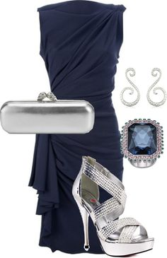 """""""Blue and Silver"""" by togata on Polyvore. Could do without the shoes. Love the dress!"""