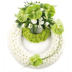 Double White and Lime Funeral Wreath