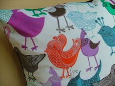 Colorful Birds Pillow Cover 16 inch by Sun2Create on Etsy
