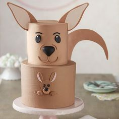 A cute cake any mom or mom-to-be is sure to love, this Kangaroo Surprise Cake is sure to be a hit at any occasion. Baby Shower Cake Sayings, Baby Shower Cakes, Fondant Cakes, Cupcake Cakes, Fondant Rose, Dog Cakes, Fondant Baby, Fondant Flowers, Fondant Figures