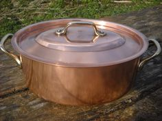 Lecellier Copper Pan Large Oval Solid Copper Pot Steel Lined Good Professional Stock Pot Casserole Pan with Lid Wonderful French Vintage by NormandyKitchen on Etsy