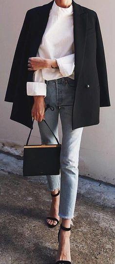 #winter #outfits black sling bag; black blazer; white long-sleeved top