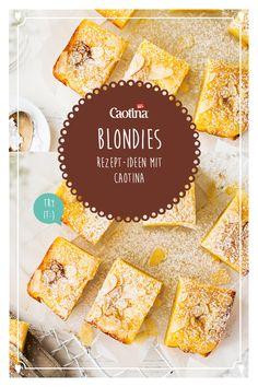 Brownies kennen alle, wie wäre es stattdessen mit Blondies? Aus weisser Schokolade und Mandeln entstehen diese köstlichen Küchlein. Jetzt Rezept ausprobieren! Fudge Cake, Brunch, Goodies, Food And Drink, Healthy Eating, Tasty, Sweets, Bread, Baking