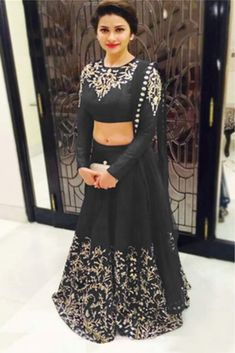 Buy Black Semi Stitched Raw Silk Designer Lehenga Choli at lowest price Online in India, Black Lehenga Choli Designs online shopping with Cash on delivery and Easy returns. Item in stock, Black color available. Indian Lehenga, Lehenga Sari, Bollywood Lehenga, Blue Lehenga, Bridal Lehenga, Lehenga Choli Designs, Lengha Design, Indian Attire, Indian Ethnic Wear