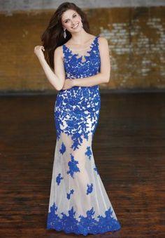 Madison James 15-112 Royal High Illusion Evening Dresses