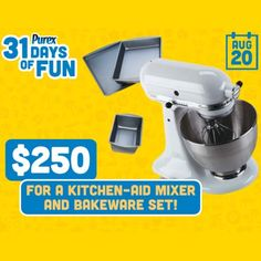 KitchenAid Mixer Giveaway from Purex - http://freesampleswithoutsurveysorparticipation.com/kitchenaid-mixer-giveaway-from-purex