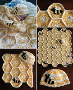 Sweet As Honey Baby Blanket and Hat Set