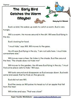 Worksheet Super Teacher Worksheets Reading comprehension we and worksheets on pinterest early bird catches the worm maybe reading story for 1st save learn more at superteacherworksheets com