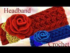 Como tejer una diadema a Crochet en punto rombos granizo puff - How to Knitting Crochet - YouTube