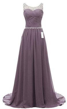Eudolah Damen Abendkleider Elegant Ballkleider lang Maxi Bunte Kleider Grau Gr.14