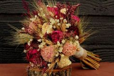 rustic-burgundy-and-pink-wedding-bouquet-large-bridal-bouquet-rustic-chic-bouquet-dried-flowers-peony-bouquet-with-wheat-wild-flowers #buque #noiva