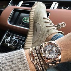 Rolex Sky-Dweller, Yeezy Boost 350 Oxford Tan and Land Rover Photo by @anilarjandas