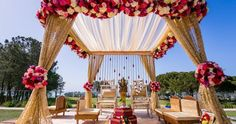 Wedding Decorations Like the gold mandap with pops of color and flower clusters - Please enjoy this gorgeous Laguna Cliffs Marriott Indian wedding featuring Anand and Anita. A big thank you to Iris Yang of Ethnic Essence Couture Events … Indian Wedding Ceremony, Wedding Mandap, Big Fat Indian Wedding, Desi Wedding, Indian Weddings, Peach Weddings, Wedding Receptions, Elegant Wedding, Reception Ideas