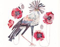 Секретарь Птица и красные маки Архивное печати на unitedthread