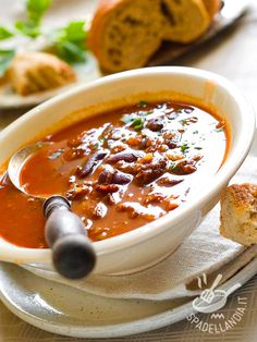 Black Bean Soup recipe: Cant wait to try it Slow Cooker Recipes, Soup Recipes, Healthy Recipes, Healthy Food, Chorizo, Red Bean Soup, A Food, Food And Drink, Dried Peppers