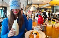 itsfuntobehappy #FASHION #FOOD Butter pancakes and the new hat •It's fun to be in London• at The Riding House Cafè
