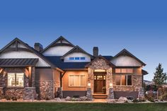 If fully finished, the daylight basement would include a spacious family room and two additional bedrooms with a Jack-and-Jill bathroom. #houseplan #JackandJill bathroom Luxury House Plans, Best House Plans, Luxury Office, Craftsman House Plans, Build Your Dream Home, Walk In Pantry, The Ranch, Sliding Glass Door, Exterior Design