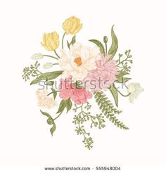 Composition with spring flowers. Bouquet in vintage style. Botanical illustration. Tulips, peony, chrysanthemum, ferns, eucalyptus seeds. Design elements isolated on white background. Pastel colors.